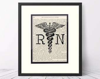 Nurse Graduation - RN Registered Nurse over Vintage Medical Book Page - RN Graduation Gift,  Nurse Graduation Gift, Nursing School, Pinning