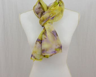 Hand Painted Chiffon Silk Scarf, Chartreuse Green, Purple, OOAK, Boho, Earthy, Gift for her, Holiday Gift