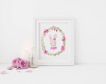 Watercolor Art Print for Baby Wallart Kid Bedroom Bunny