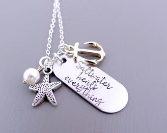 Saltwater Heals Everything Charm Necklace.  Nautical Necklace with Starfish, Anchor, Pearl.  Beach Babe, Beach Lover Jewelry. Silver & Gold.