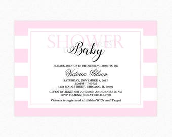 Pink and White Stripe Baby Shower Invitation, Girl Baby Shower, Personalized, Printable or Printed