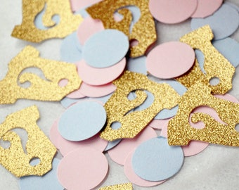 Gender Reveal Party Decorations 50CT.  Handcrafted in 2-5 Business Days.  Onesie Confetti.  Question Marks.