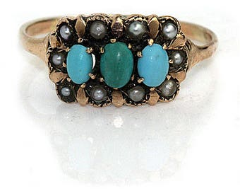 Antique Turquoise Victorian Ring Turquoise Ring Rose Gold