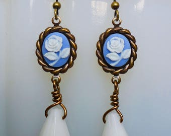Shabby Roses // Blue and White Rose Cameo Drop Earrings on Antiqued Brass Bohemian Bohochic Victorian Edwardian Shabby Chic Vintage Art Deco