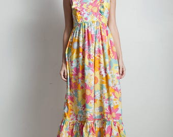 vintage style floral cotton maxi dress pink ruffle empire waist sleeveless SMALL S
