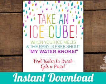 Take an Ice Cube! Sign, Perfect for Baby Showers, Rain drops, Rainbow, Gender neutral, Game, Water break, Water broke, 8x10, Prize