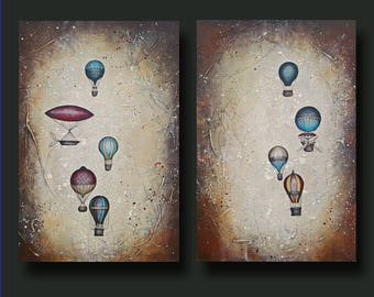 Hot Air Balloon Painting, Rust Art, Steampunk Painting, Masculine Art, 24x36 Taking to the Skies Set - By Britt Hallowell