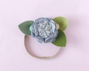 Single Flower Headband or Alligator Clip // Sweater Weather Color, Fall Carnation Felt Flower