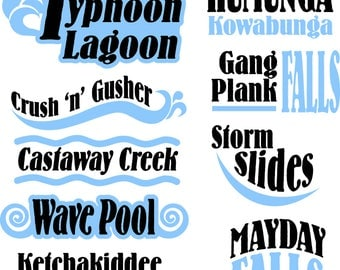 SVG/PNG file - Typhoon Lagoon inspired titles for scrapbooking