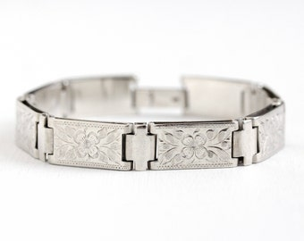 Vintage Sterling Silver Chased Flower Bracelet - 1940s Rectangular Panel Engraved Floral Segments 7 1/2 Inch Signed Wells Jewelry
