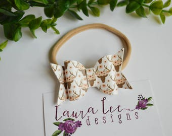 READY TO SHIP, Floral Deer Faux Leather Bow Nylon Headband or Alligator Clip, Limited Edition Bow, Toddler, Birthday, Smash Cake, Fall Bow
