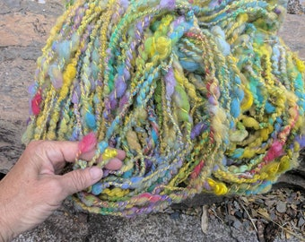 Handspun Yarn SUNNY SOLSTICE big 105 yard skeins approx 7-8 oz each Merino Targhee wool kid mohair soft yellow and multi colors lockspun