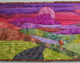 Vermont /mountain valley landscape /camels hump/ art quilt/ fabric art / landscape/ farmland