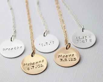 personalized stamped disc, coordinates necklace, name and date pendant, breathe yoga, custom jewelry, word of the year, malisay designs