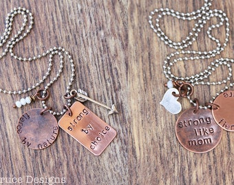 Mom&Me set. Live the pride. fierce by nature. strong by choice. strong like mom. 2 necklace set.