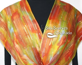 Silk Scarf Hand Painted Silk Satin Shawl Gold Copper Hand Dyed Silk Satin Scarf GOLD RUSH Size 11x60  Birthday Gift Scarf Gift-Wrapped Scarf