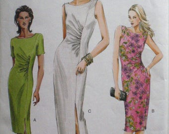 Vogue 8027 - Ruched Waist Dress Sewing Pattern - Sizes 6-8-10, Bust 30 1/2 - 32 1/2 - SIZE 10 FACINGS MISSING