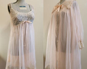 Lingerie Set Wedding Bridal pink chiffon lace sleep night gown pinup babydoll Formfit Rogers 36 M