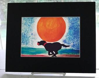 Black Lab watercolor giclee, Labrador Retriever on the beach, dog watercolor painting print, beach house home decor, BLACK matte 8x10