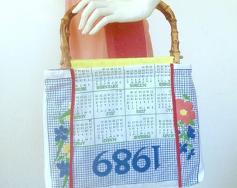 Like it's 1989 - Bamboo handle bag made from vintage fabric