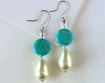 Turquoise Howlite and Glass Pearl Drop Earrings