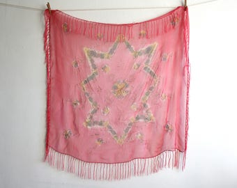 Sheer Painted Fringe Shawl