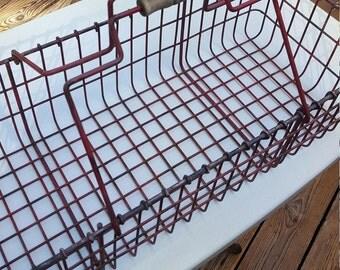 Large Metal Basket - Rustic Storage - Farmhouse Decor - Oak Hill Vintage