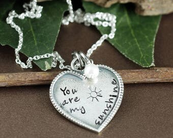 You are my Sunshine Necklace, Silver Heart Necklace, Gift for Daughter, Gift for Granddaughter, Sunshine Jewelry, Sunshine Necklace