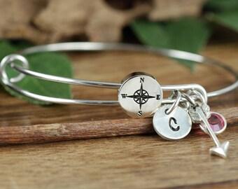 Personalized Compass Bracelet, Friendship Bracelet, Wanderlust Jewelry, Travel Bracelet, Graduation Gifts, Compass Charm, Bridesmaid Jewelry