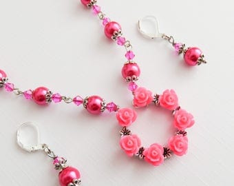 Hot pink flower girl jewelry set, little girl jewelry set, hot pink flower jewelry, clip on, granddaughter gift, wedding jewelry