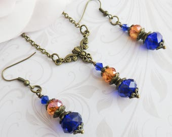 Orange bridesmaid jewelry set, burnt orange with blue, fall wedding jewelry, autumn bridal jewelry, bridal party gift