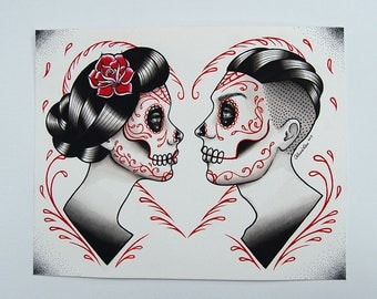 ORIGINAL PAINTING - Day of the Dead Sugar Skull Couple in Love - Fate by Carissa Rose - Tattoo Flash Romance Illustration