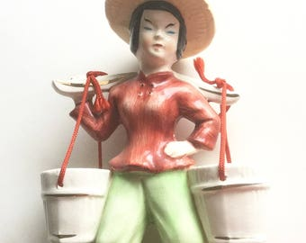 Porcelain Figurine, Asian Woman Carrying Water Buckets, Vintage Japan Figurine Planter