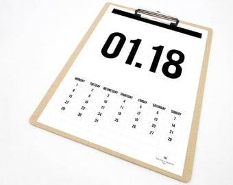 All Numbers Printable Calendar, 2018 Calendar, Monthly Calendar, Monthly Planner, 2018 Planner, Gift for Students, Scandinavian Design, PDF