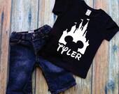 Personalized Name Magic Kingdom Disney Toddler or Youth Boys Black T-Shirt Custom Name Shirt, Boy's Disney Shirt, Matching Family Shirts