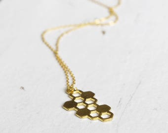 Gold Geometric Necklace, Honeycomb Necklace, Geometric Jewelry, Drop Pendant, Minimalist Necklace, Bee Accessories, Nature Science Jewellery