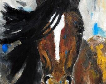FINE ART PRINT-The Blaze Horse Oil Painting