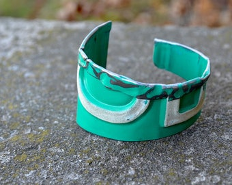 Vintage License Plates, Fold Down The Top, Get a Lot of Swank. In teal and white.  Vintage Plate Cuff.  By ReaganJuel: License15