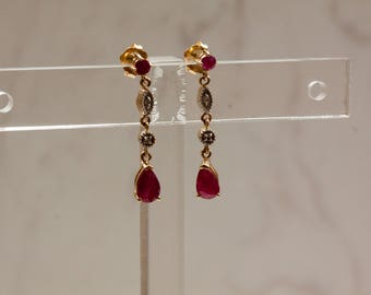 Estate Ruby and Diamond Dangle/ Drop Leverback Earrings Set in 14k Solid Yellow Gold