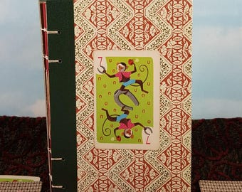 Lucky Monkey Writing Journal with Vintage Hearts Playing Card on Readers Digest Hardcover