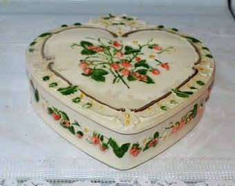Heart Shaped Ceramic Trinket Box