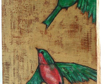 "two flying birds ""spread your wings"" painting original a2n2koon wall art on textured reclaimed wood birds in flight coral emerald green gold"