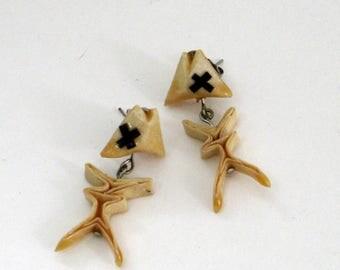 origami fish bone stud earrings