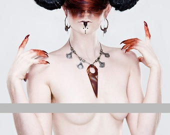 Xmas in July Sale Ready to Ship Miyu Decay Tuareg Palmier with Agate Tanfouk Necklace