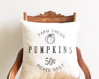 fall pillow cover, farm fresh pumpkins decorative pillow cover, pumpkin pillow, autumn decor, thanksgiving decor, farmhouse pillow