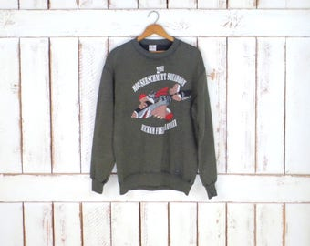 90s vintage army green air pilot cotton sweatshirt/military pullover/flying cat pilot sweater