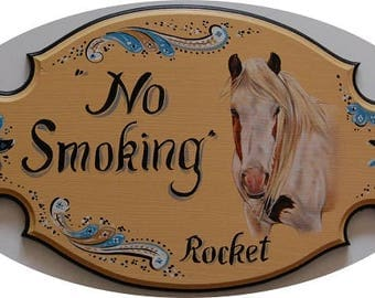 Custom horse plaque,  stall signs, hand painted stable plaques with horse portrait painting from your photo