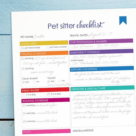 printable pet sitter checklist downloadable home management. Black Bedroom Furniture Sets. Home Design Ideas