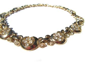 Rhinestone Gold Tone Necklace Choker Collar Length Vintage Jewelry Rhinestone Vintage Necklace