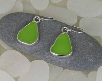Lime Green Sea Glass Bezel Earrings Maine
